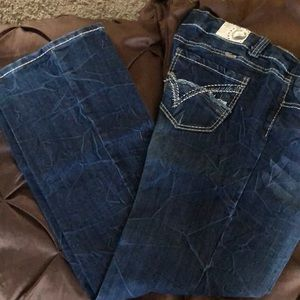 Dark Denim Bootcut Jeans with White & Tan Tread